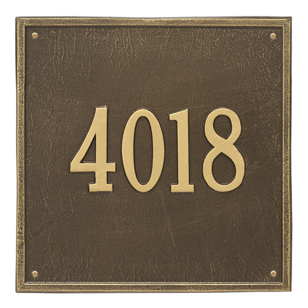 Whitehall Personalized Square Estate Wall Address Plaque - 1 Line