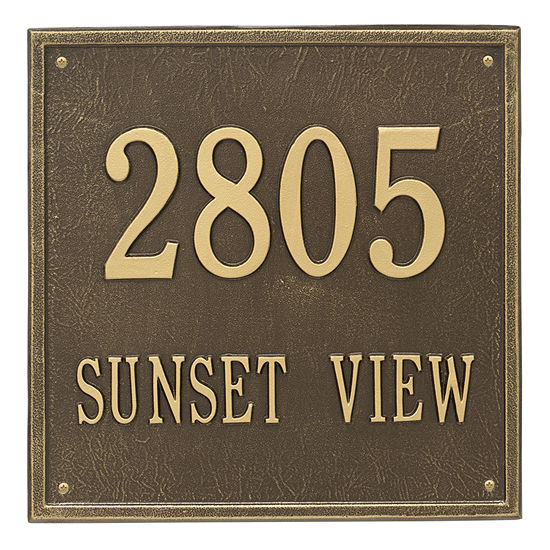 Whitehall Personalized Square Estate Wall Address Plaque 2 Line