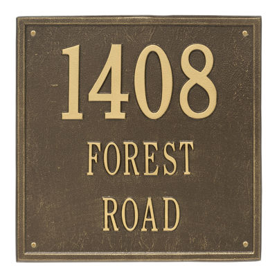 Whitehall Personalized Square Estate Wall Address Plaque - 3 Line