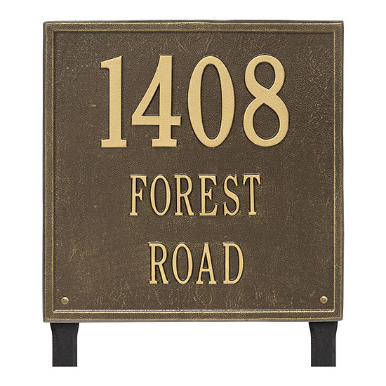 Whitehall Personalized Square Estate Lawn Address Plaque - 3 Line