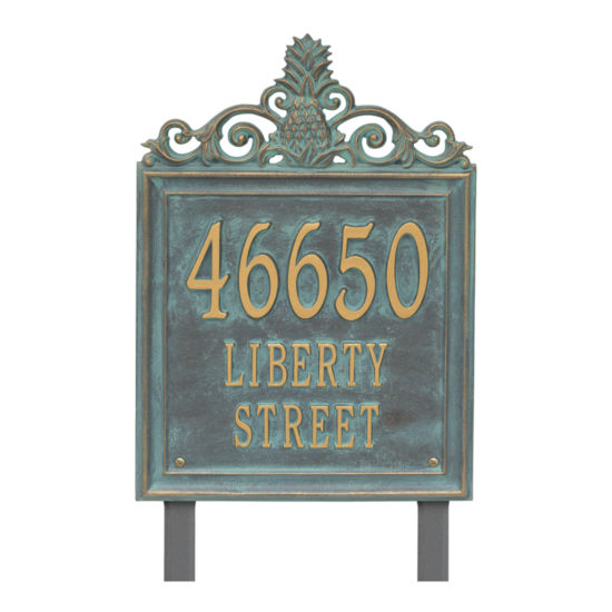 Whitehall Personalized Lanai Estate Lawn Address Plaque - 3 Line