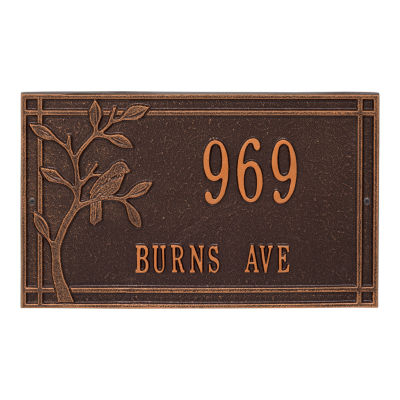 Whitehall Personalized Woodridge Bird Standard Wall Address Plaque - 2 Line