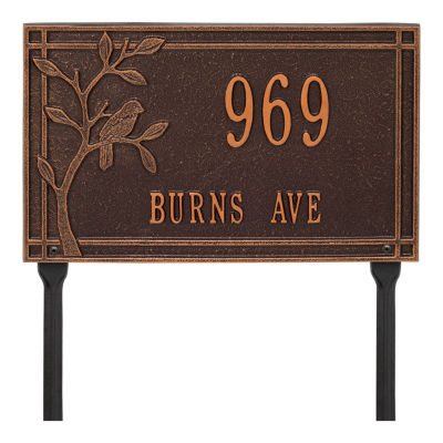 Whitehall Personalized Woodridge Bird Standard Lawn Address Plaque - 2 Line