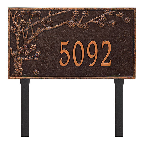 Whitehall Personalized Spring Blossom Estate Lawn Address Plaque - 1 Line