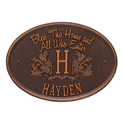 Whitehall Bless This Home Monogram Oval Standard Wall Address Plaque  - 1 Line