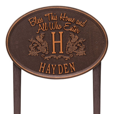 Whitehall Bless This Home Monogram Oval Standard Lawn Address Plaque - 1 Line