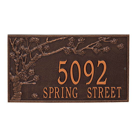 Whitehall Personalized Spring Blossom Estate Wall Address Plaque - 2 Line