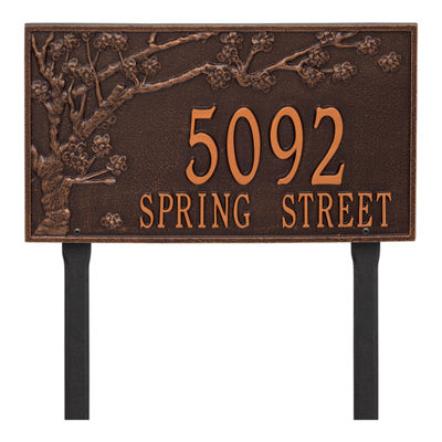 Whitehall Personalized Spring Blossom Estate Lawn Address Plaque - 2 Line