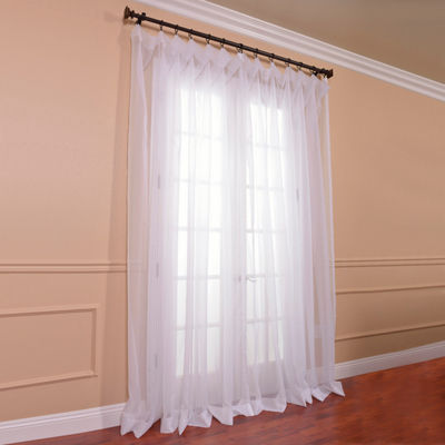 Exclusive Fabrics & Furnishing Extra Wide Solid Voile Poly Sheer Curtain Panel