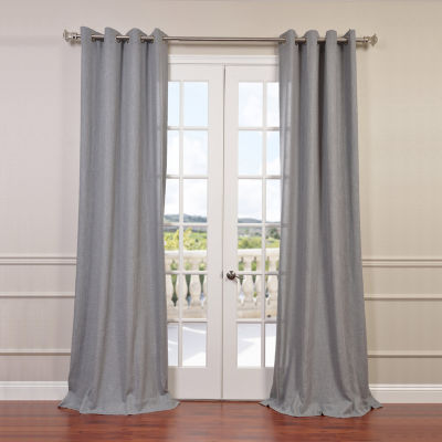 Exclusive Fabrics & Furnishing Faux Linen Grommet-Top Semi Sheer Curtain Panel