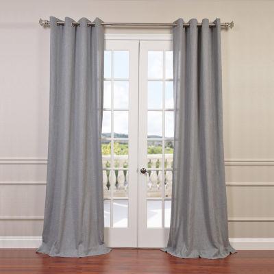 Exclusive Fabrics & Furnishing Faux Linen Grommet-Top Semi Sheer Curtain Panel