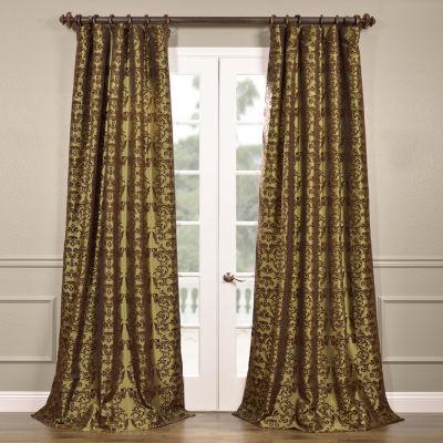 Exclusive Fabrics & Furnishing Firenze Flocked Faux Silk Curtain Panel