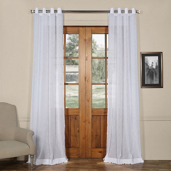 Exclusive Fabrics & Furnishing Grommet-Top Solid Faux Linen Sheer Curtain Panel