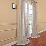 Exclusive Fabrics & Furnishing Faux Linen Rod-Pocket Single Sheer Curtain Panel