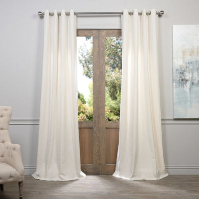 Exclusive Fabrics & Furnishing Grommet-Top Heavy Faux Linen Curtain Panel