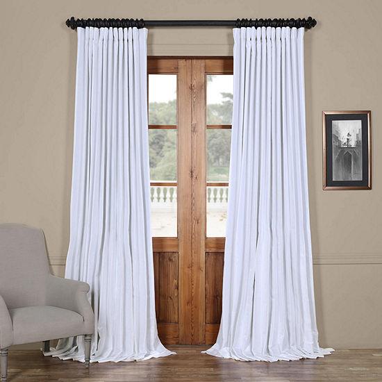 Exclusive Fabrics & Furnishing Extra Wide Vintage Textured Faux Dupioni Energy Saving Blackout Rod-Pocket Single Curtain Panel