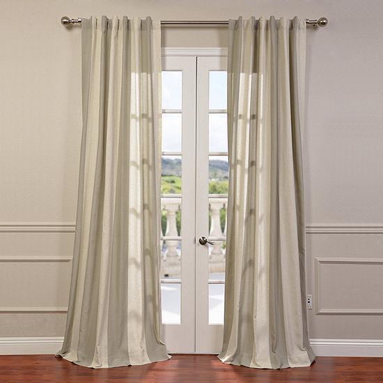 Exclusive Fabrics & Furnishing Del Mar Linen Stripe Light-Filtering Rod-Pocket Single Curtain Panel