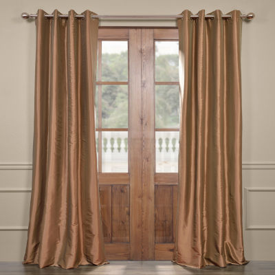 Exclusive Fabrics & Furnishing Grommet-Top Blackout Faux Silk Taffeta Curtain Panel