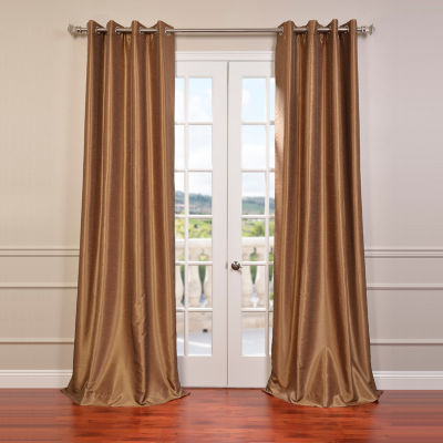 Exclusive Fabrics & Furnishing Grommet-Top Blackout Vintage Textured Faux Dupioni Silk Curtain Panel
