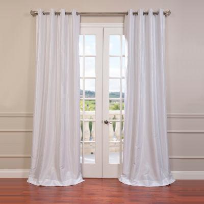 Exclusive Fabrics & Furnishing Grommet-Top Blackout Vintage Textured Faux Dupioni Silk Curtain Panel