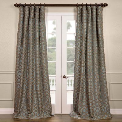 Exclusive Fabrics & Furnishing Filigree Flocked Faux Silk Curtain Panel