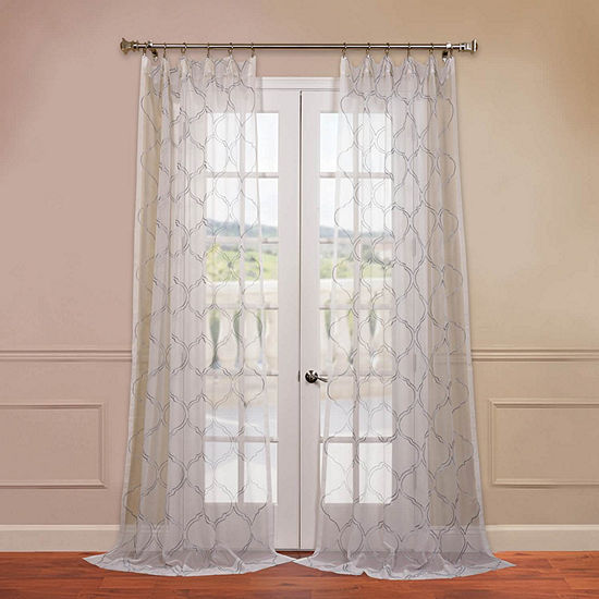 Exclusive Fabrics & Furnishing Florentina Embroidered Rod-Pocket Single Sheer Curtain Panel