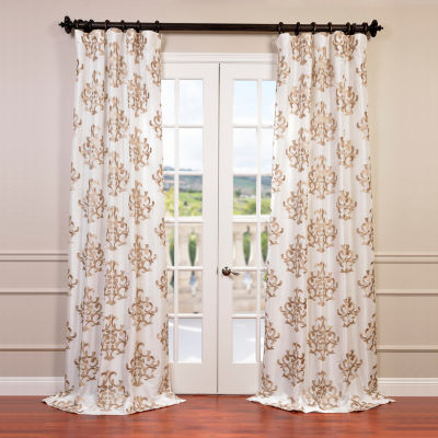 Exclusive Fabrics & Furnishing Ankara EmbroideredFaux Silk Taffeta Curtain Panel