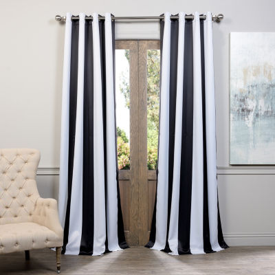 Exclusive Fabrics & Furnishing Awning Stripe Grommet-Top Blackout Curtain Panel