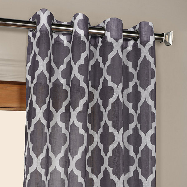 Exclusive Fabrics & Furnishing Birmingham Grommet-Top Printed Faux Linen Sheer Curtain Panel