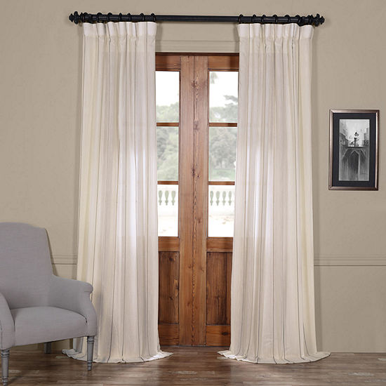 Exclusive Fabrics & Furnishing Aruba Striped Linen Sheer Rod-Pocket Single Curtain Panel