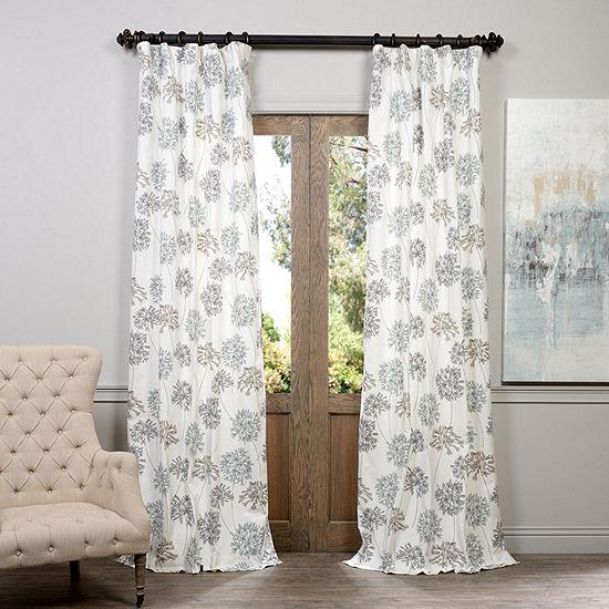 Exclusive Fabrics Furnishing Allium Printed Cotton Curtain Panel