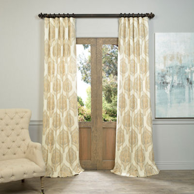 Exclusive Fabrics & Furnishing Arabesque Printed Cotton Twill Curtain Panel