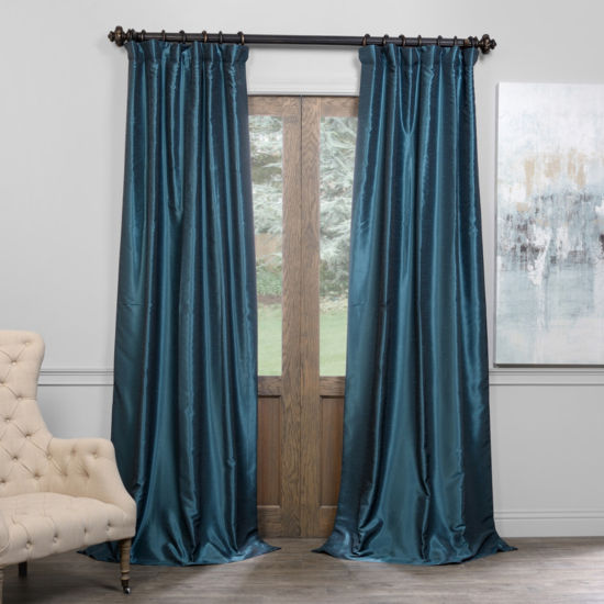 Exclusive Fabrics & Furnishing Blackout Vintage Textured Faux Dupioni Curtain Panel