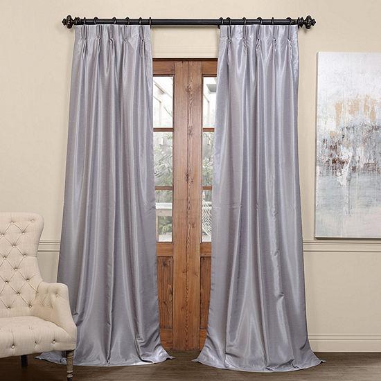 Exclusive Fabrics & Furnishing Pleated Vintage Textured Faux Dupioni Energy Saving Blackout Pinch-Pleat Single Curtain Panel