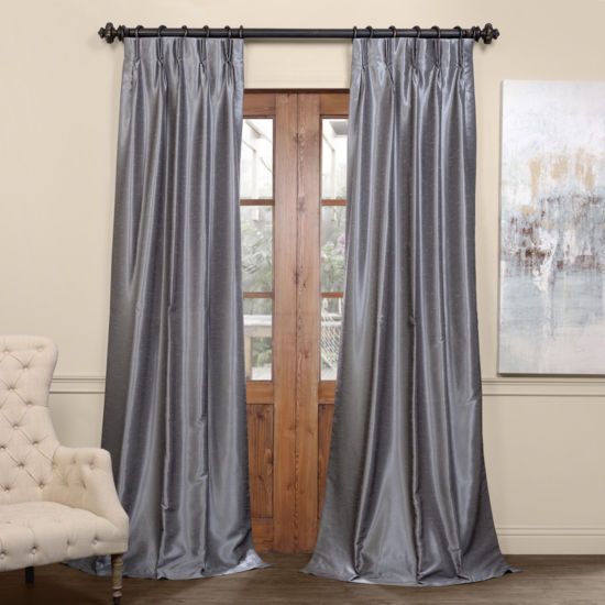 Exclusive Fabrics & Furnishing Blackout Vintage Textured Faux Dupioni Pleated Curtain Panel