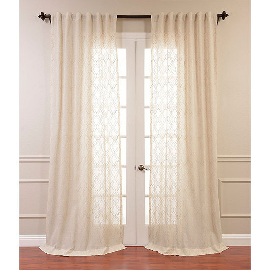 Exclusive Fabrics Furnishing Saida Embroidered Faux Linen Sheer Curtain Panel