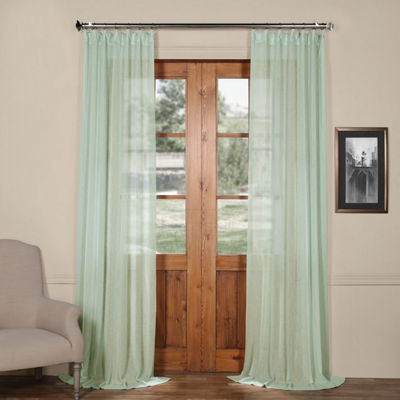 Exclusive Fabrics & Furnishing Solid Faux Linen Sheer Curtain Panel