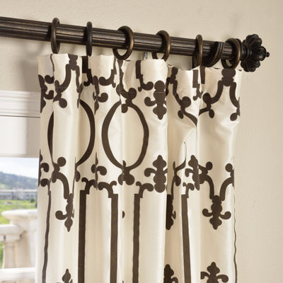 Exclusive Fabrics & Furnishing Royal Gate FlockedFaux Silk Taffeta Curtain Panel