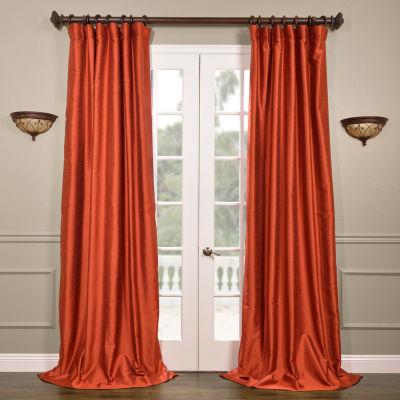 Exclusive Fabrics & Furnishing Yarn Dyed Faux Dupioni Silk Curtain Panel