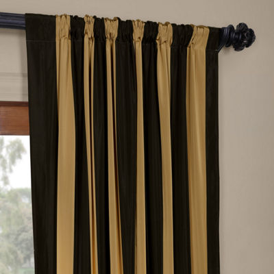 Exclusive Fabrics & Furnishing Regency Faux Silk Taffeta Stripe Curtain Panel