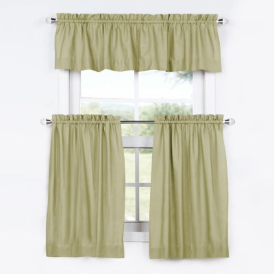 Exclusive Fabrics & Furnishing Solid Cotton 3-pc.Kitchen Curtain Set