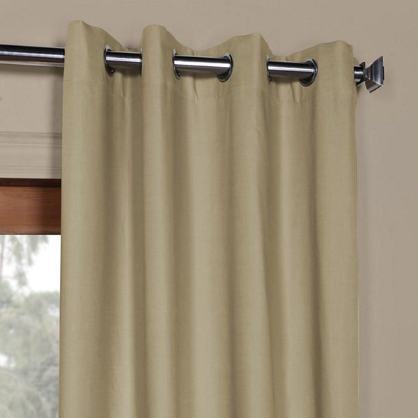 Exclusive Fabrics & Furnishing Solid Cotton Grommet-Top Curtain Panel