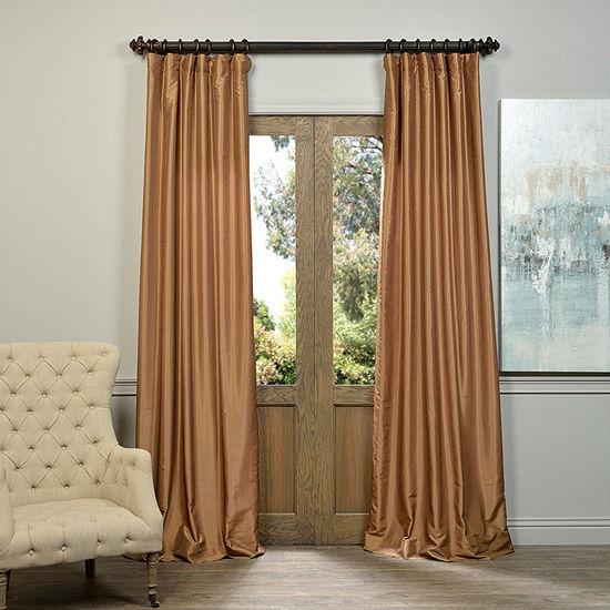 Exclusive Fabrics Furnishing Vintage Textured Faux Dupioni Silk Curtain Panel