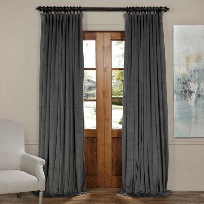 Exclusive Fabrics & Furnishing Signature Extra Wide Blackout Velvet Curtain Panel