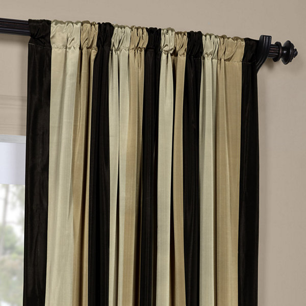 Exclusive Fabrics & Furnishing Sake Faux Silk Taffeta Stripe Curtain Panel