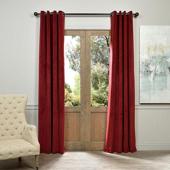 Exclusive Fabrics & Furnishing Signature Grommet-Top Blackout Velvet Curtain Panel