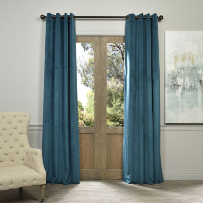 Exclusive Fabrics & Furnishing Signature Grommet-Top Blackout Velvet Curtain Panel