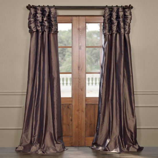 Exclusive Fabrics & Furnishing Ruched Faux Solid Taffeta Curtain Panel