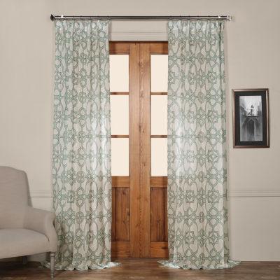 Exclusive Fabrics & Furnishing Seaglass Printed Sheer Curtain Panel