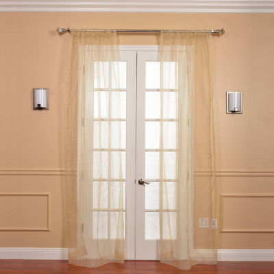Exclusive Fabrics & Furnishing Solid Faux Organza2-Pack Sheer Curtain Panels
